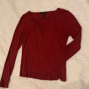 Lace up red long sleeve